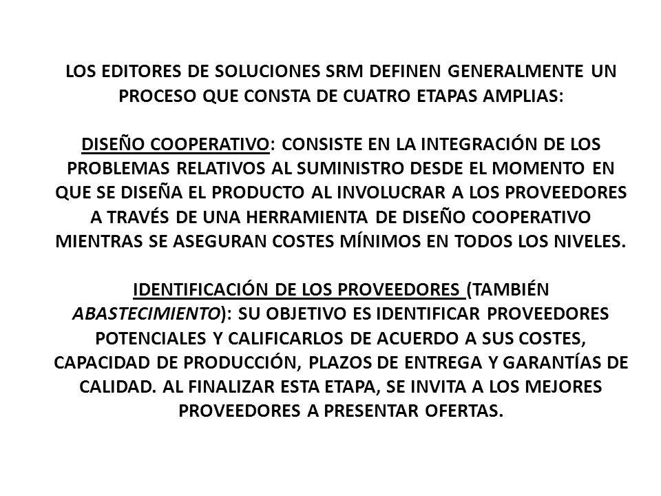 LOS EDITORES DE SOLUCIONES SRM DEFINEN GENERALMENTE UN PROCESO QUE CONSTA DE CUATRO ETAPAS AMPLIAS: DISEÑO COOPERATIVO: CONSISTE EN LA INTEGRACIÓN DE