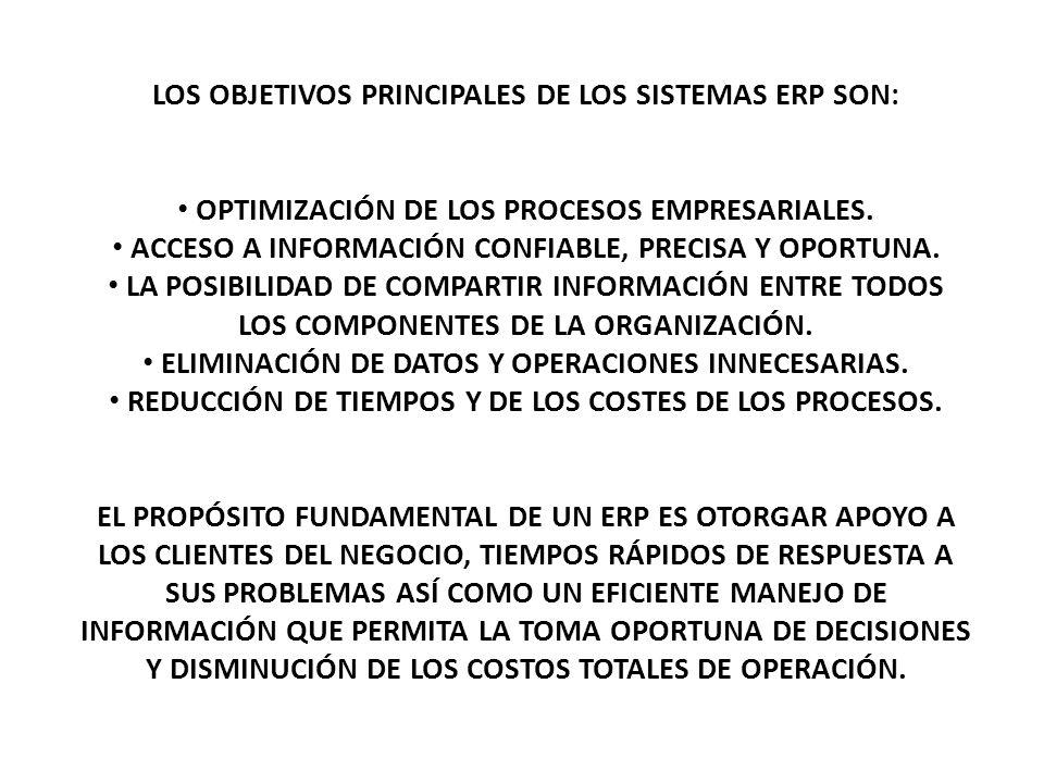 LOS OBJETIVOS PRINCIPALES DE LOS SISTEMAS ERP SON: OPTIMIZACIÓN DE LOS PROCESOS EMPRESARIALES. ACCESO A INFORMACIÓN CONFIABLE, PRECISA Y OPORTUNA. LA