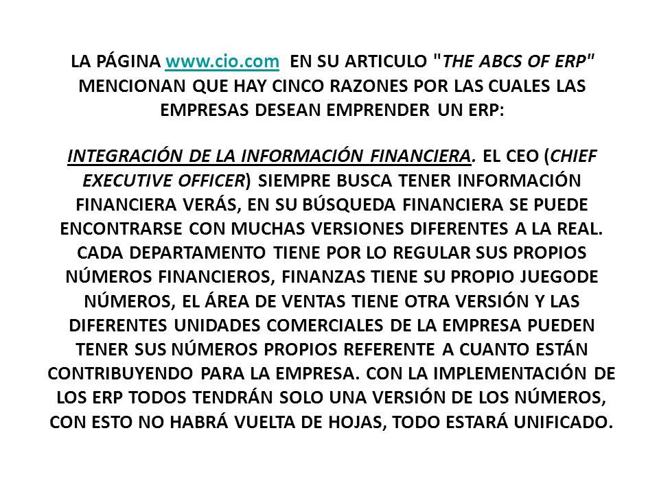 LA PÁGINA www.cio.com EN SU ARTICULO