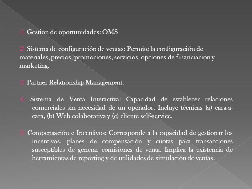 1) Gestión de oportunidades: OMS 2) Sistema de configuración de ventas: Permite la configuración de materiales, precios, promociones, servicios, opcio