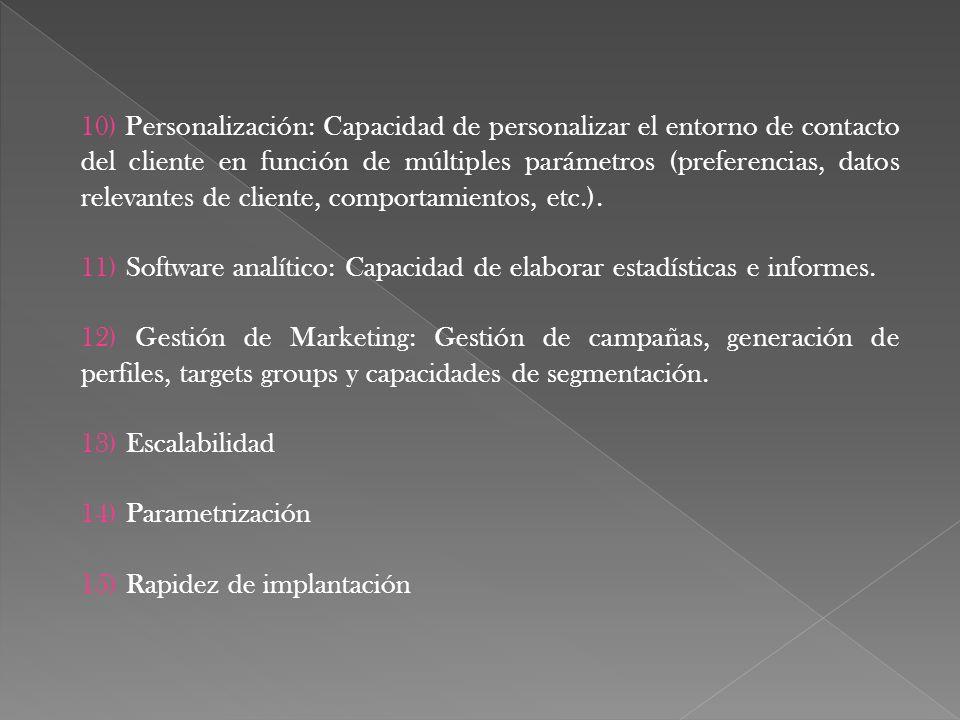 10) Personalización: Capacidad de personalizar el entorno de contacto del cliente en función de múltiples parámetros (preferencias, datos relevantes d