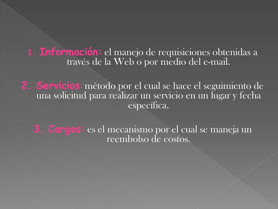 1. Información: el manejo de requisiciones obtenidas a través de la Web o por medio del e-mail. 2. Servicios: método por el cual se hace el seguimient