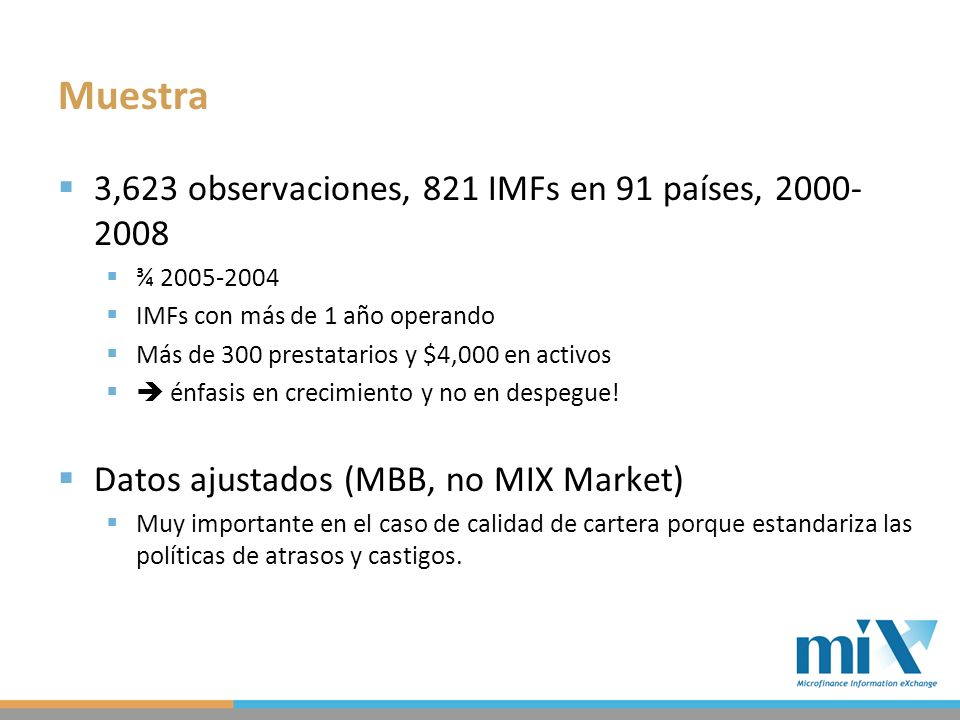 Muestra 3,623 observaciones, 821 IMFs en 91 países, 2000- 2008 ¾ 2005-2004 IMFs con más de 1 año operando Más de 300 prestatarios y $4,000 en activos énfasis en crecimiento y no en despegue.