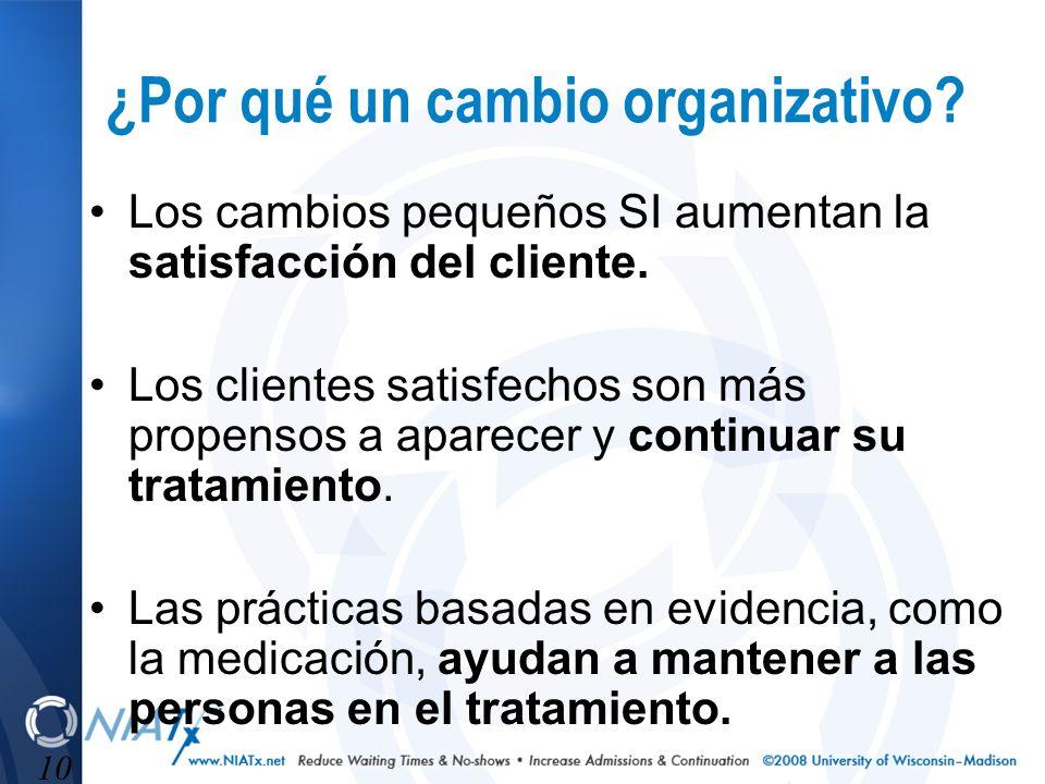 10 ¿Por qué un cambio organizativo? Los cambios pequeños SI aumentan la satisfacción del cliente. Los clientes satisfechos son más propensos a aparece