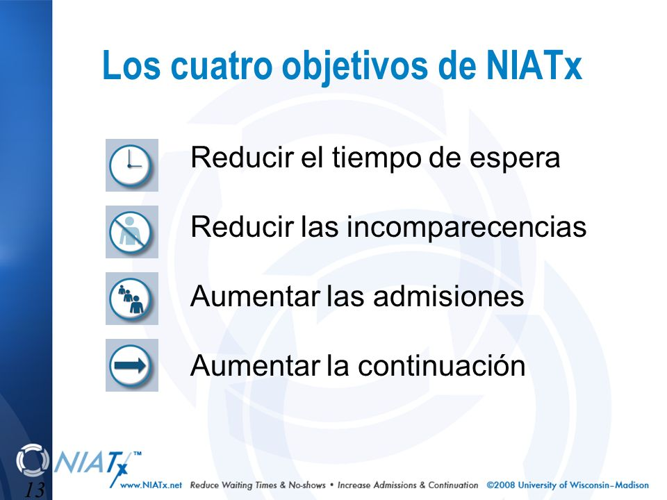13 Los cuatro objetivos de NIATx Reducir el tiempo de espera Reducir las incomparecencias Aumentar las admisiones Aumentar la continuación
