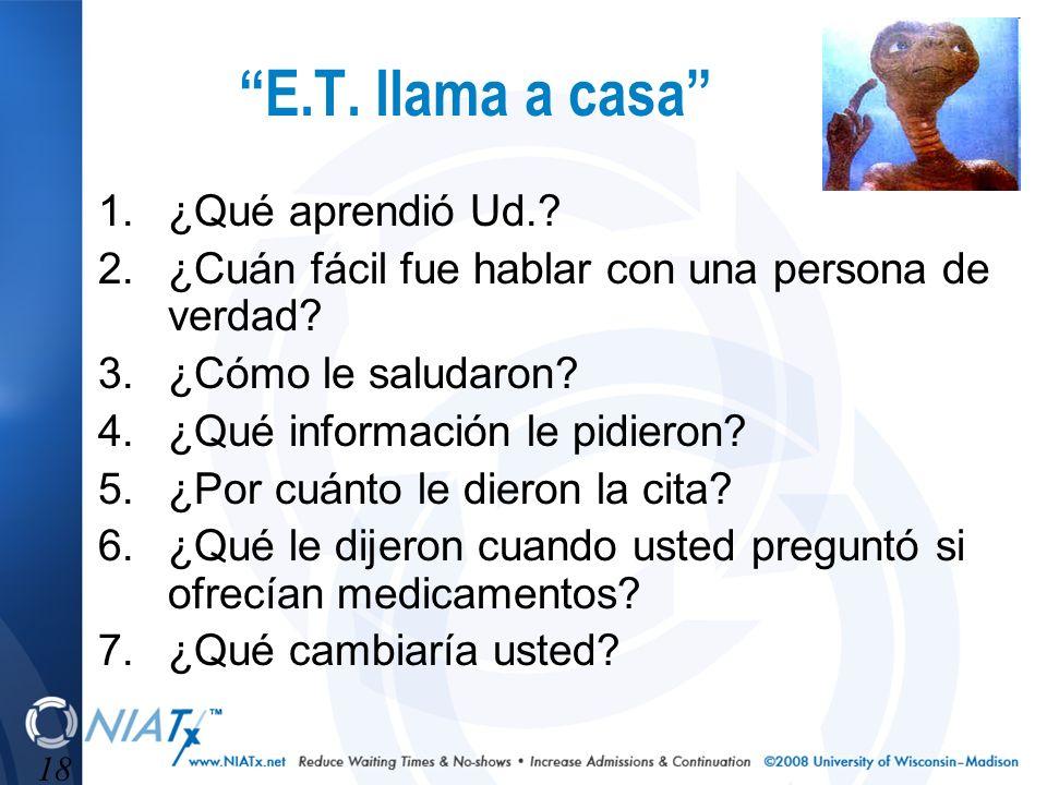 18 E.T. llama a casa 1.¿Qué aprendió Ud.? 2.¿Cuán fácil fue hablar con una persona de verdad? 3.¿Cómo le saludaron? 4.¿Qué información le pidieron? 5.