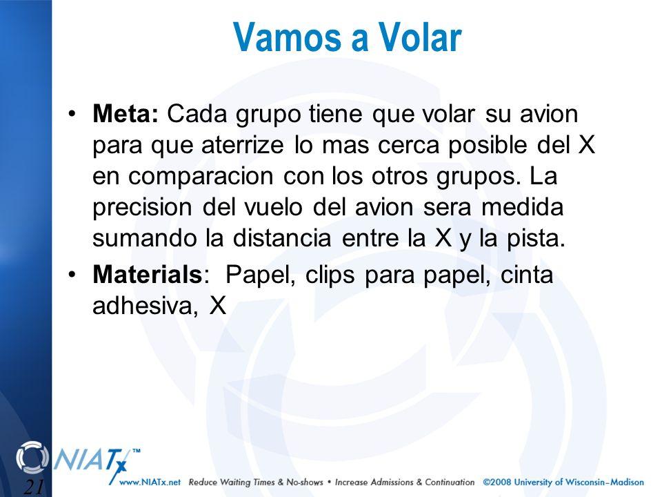 21 Vamos a Volar Meta: Cada grupo tiene que volar su avion para que aterrize lo mas cerca posible del X en comparacion con los otros grupos. La precis