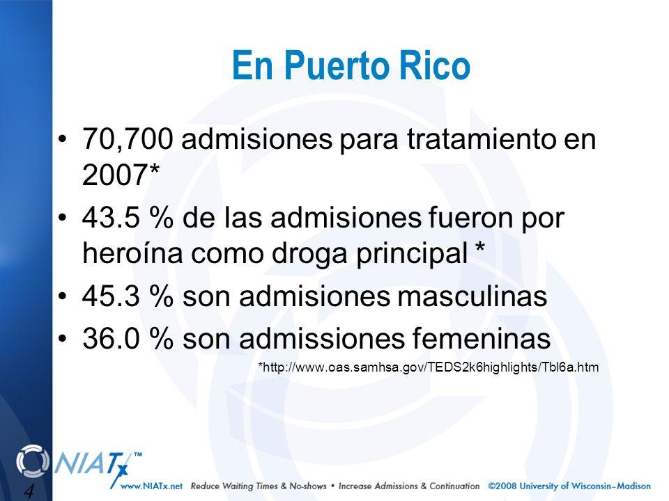 4 En Puerto Rico 70,700 admisiones para tratamiento en 2007* 43.5 % de las admisiones fueron por heroína como droga principal * 45.3 % son admisiones