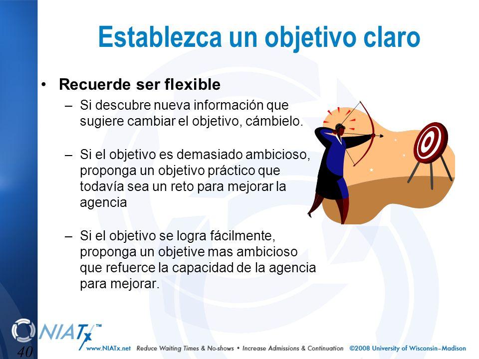 40 Establezca un objetivo claro Recuerde ser flexible –Si descubre nueva información que sugiere cambiar el objetivo, cámbielo. –Si el objetivo es dem