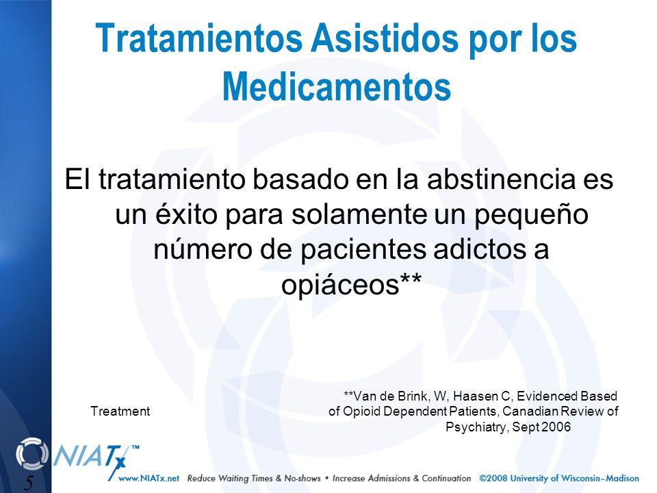 5 Tratamientos Asistidos por los Medicamentos El tratamiento basado en la abstinencia es un éxito para solamente un pequeño número de pacientes adicto