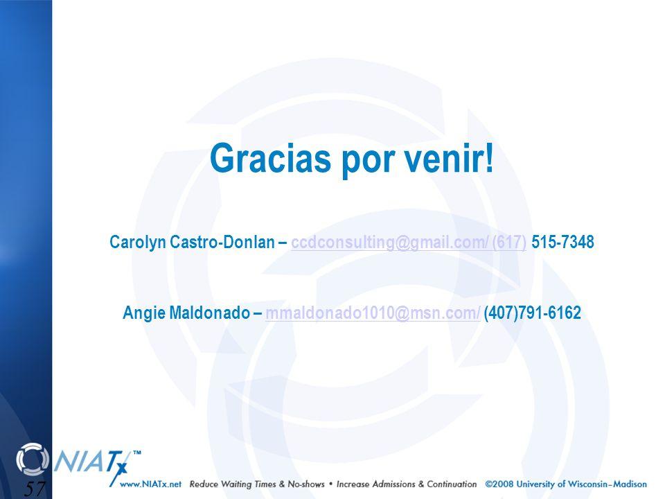 57 Gracias por venir! Carolyn Castro-Donlan – ccdconsulting@gmail.com/ (617) 515-7348 Angie Maldonado – mmaldonado1010@msn.com/ (407)791-6162ccdconsul