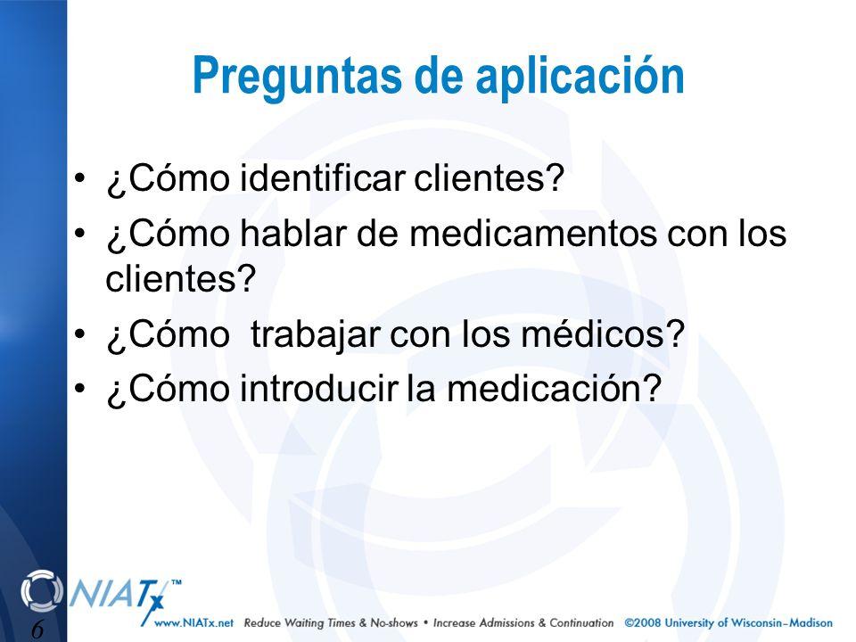 6 Preguntas de aplicación ¿Cómo identificar clientes? ¿Cómo hablar de medicamentos con los clientes? ¿Cómo trabajar con los médicos? ¿Cómo introducir