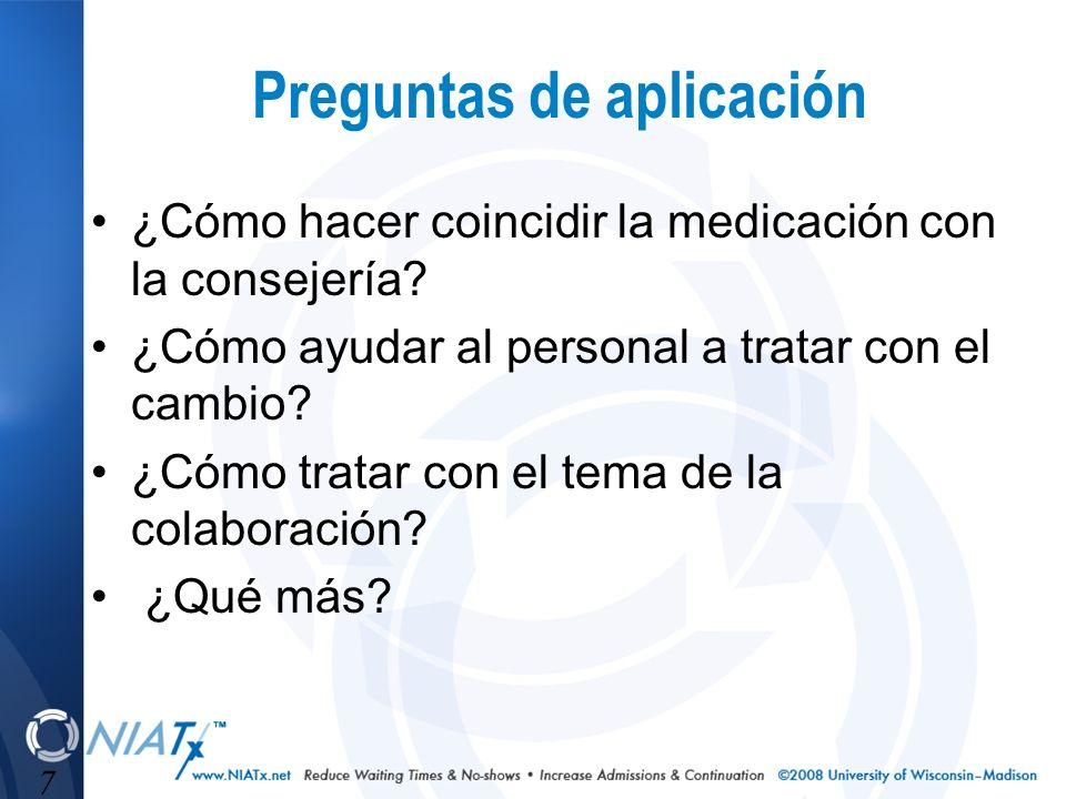 7 Preguntas de aplicación ¿Cómo hacer coincidir la medicación con la consejería? ¿Cómo ayudar al personal a tratar con el cambio? ¿Cómo tratar con el