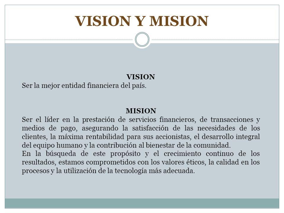 VISION Y MISION VISION Ser la mejor entidad financiera del país. MISION Ser el líder en la prestación de servicios financieros, de transacciones y med