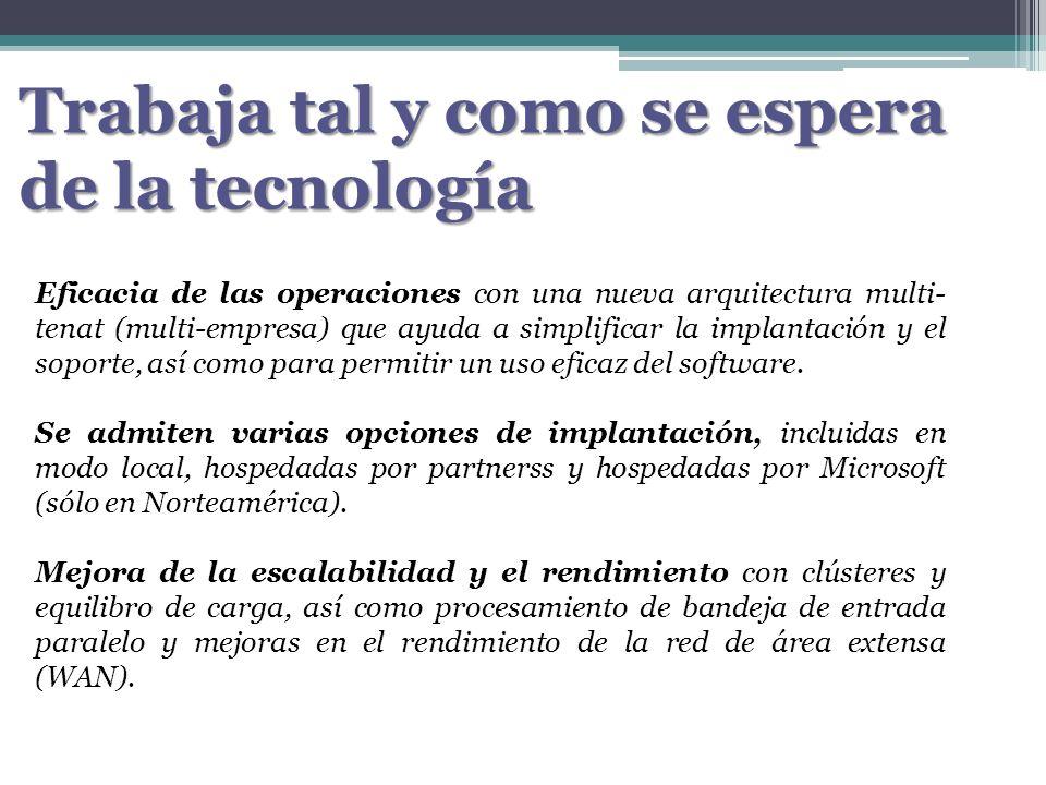 Trabaja tal y como se espera de la tecnología Eficacia de las operaciones con una nueva arquitectura multi- tenat (multi-empresa) que ayuda a simplifi