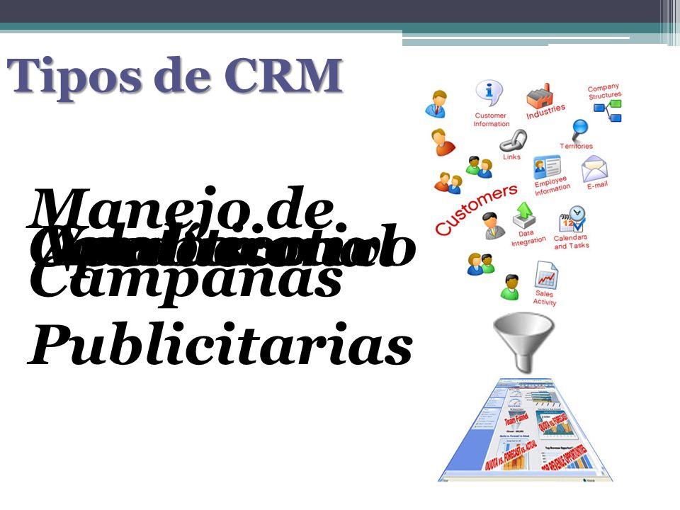 Tipos de CRM Operacional VentasAnalítico Manejo de Campañas Publicitarias Colaborativo