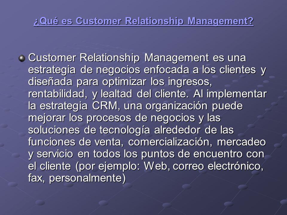 Objetivo Proporcionarle a toda la organización una visión de 360 grados sobre el cliente, sin importar dónde resida la información o dónde ocurrió el punto de encuentro con el cliente.