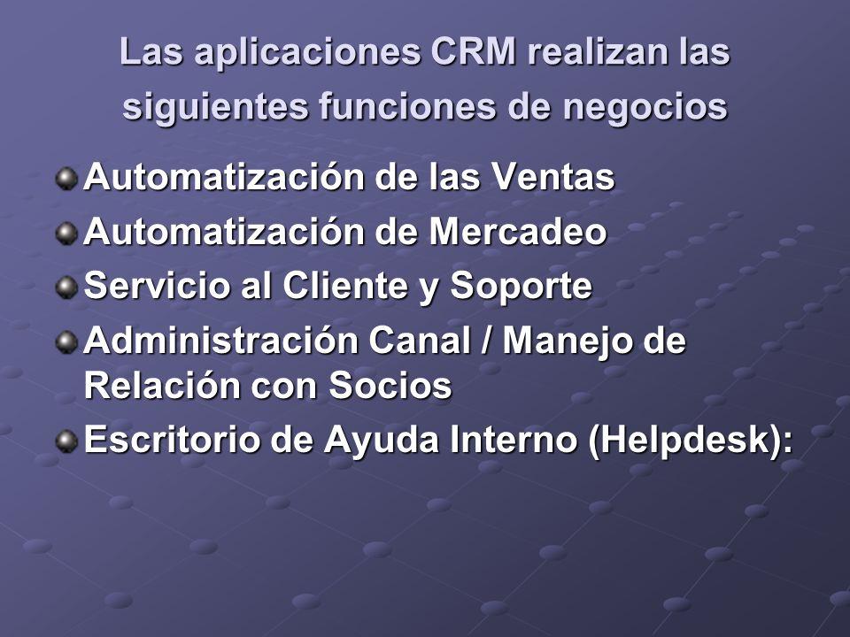 Las aplicaciones CRM realizan las siguientes funciones de negocios Automatización de las Ventas Automatización de Mercadeo Servicio al Cliente y Sopor