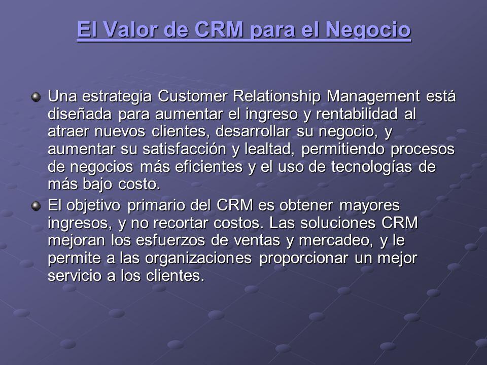 El Valor de CRM para el Negocio El Valor de CRM para el Negocio Una estrategia Customer Relationship Management está diseñada para aumentar el ingreso