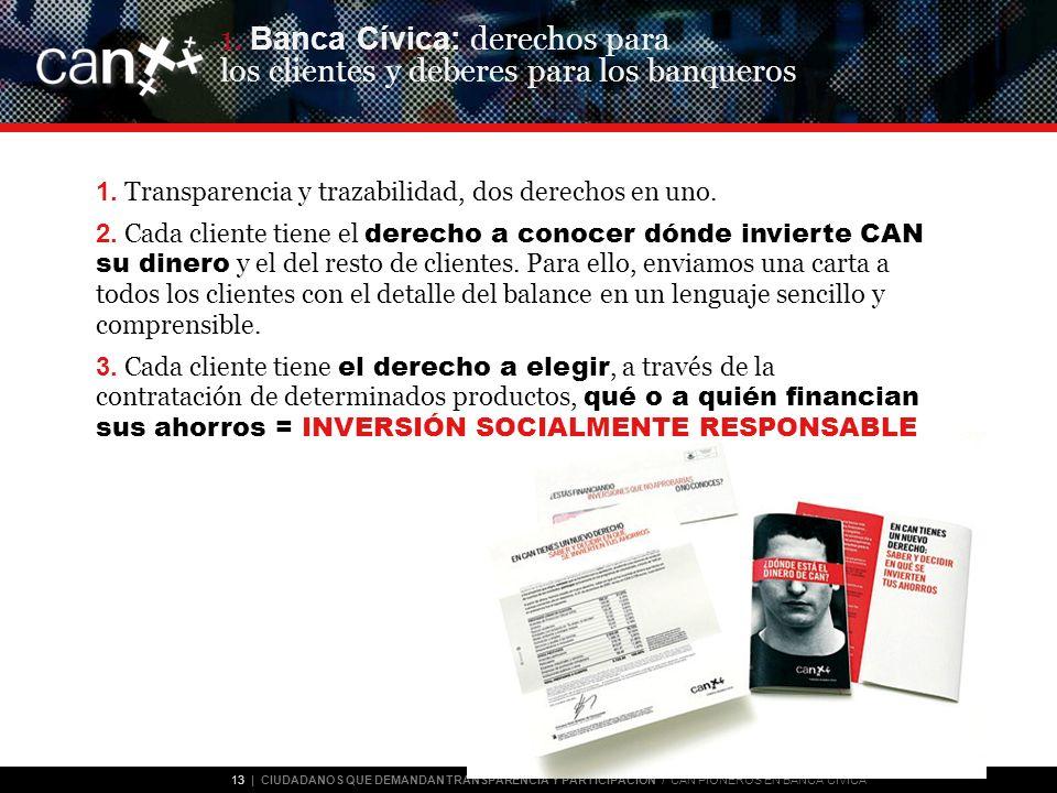 13 | CIUDADANOS QUE DEMANDAN TRANSPARENCIA Y PARTICIPACIÓN / CAN PIONEROS EN BANCA CÍVICA 1.