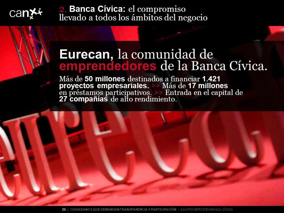 20 | CIUDADANOS QUE DEMANDAN TRANSPARENCIA Y PARTICIPACIÓN / CAN PIONEROS EN BANCA CÍVICA Eurecan, la comunidad de emprendedores de la Banca Cívica.
