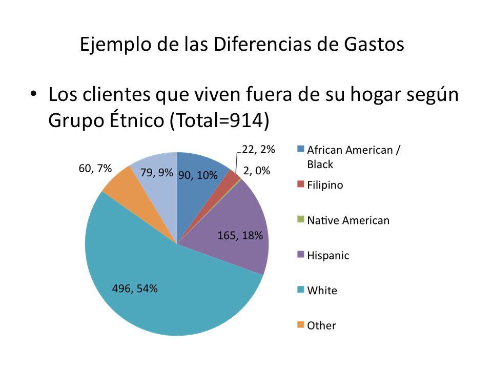 Ejemplo de las Diferencias de Gastos Los clientes que viven fuera de su hogar según Grupo Étnico (Total=914)