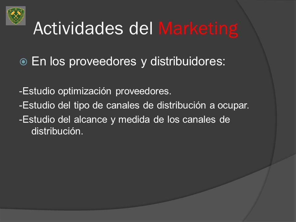 Actividades del Marketing En los proveedores y distribuidores: -Estudio optimización proveedores. -Estudio del tipo de canales de distribución a ocupa