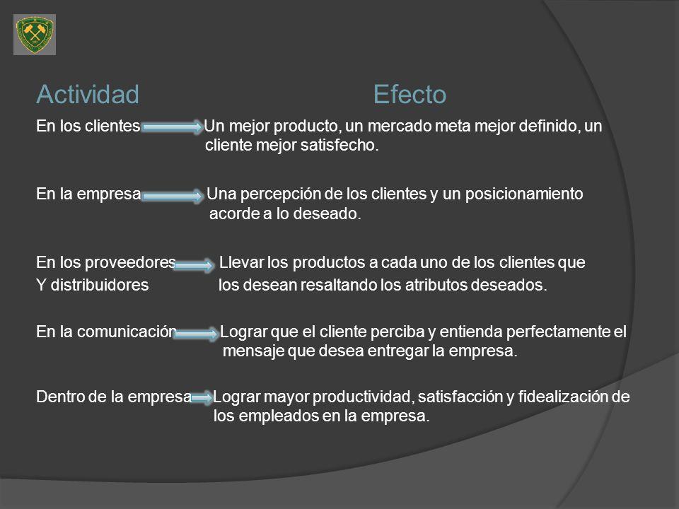 ActividadEfecto En los clientes Un mejor producto, un mercado meta mejor definido, un cliente mejor satisfecho. En la empresa Una percepción de los cl
