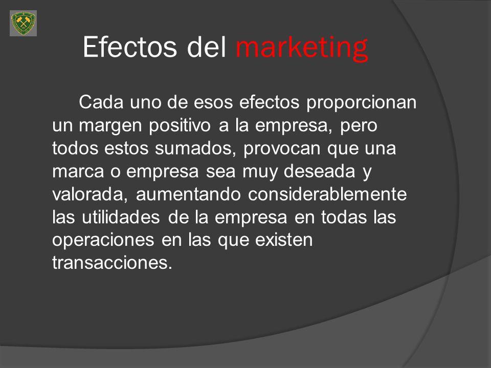 Efectos del marketing Cada uno de esos efectos proporcionan un margen positivo a la empresa, pero todos estos sumados, provocan que una marca o empresa sea muy deseada y valorada, aumentando considerablemente las utilidades de la empresa en todas las operaciones en las que existen transacciones.