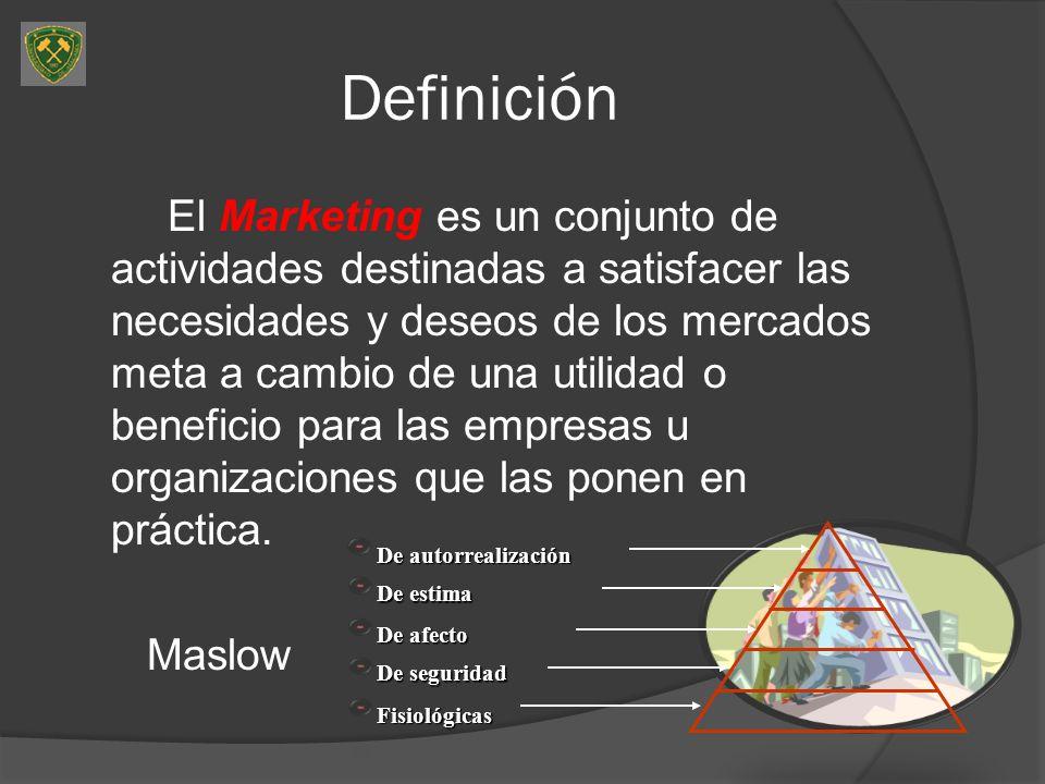 Definición El Marketing es un conjunto de actividades destinadas a satisfacer las necesidades y deseos de los mercados meta a cambio de una utilidad o beneficio para las empresas u organizaciones que las ponen en práctica.
