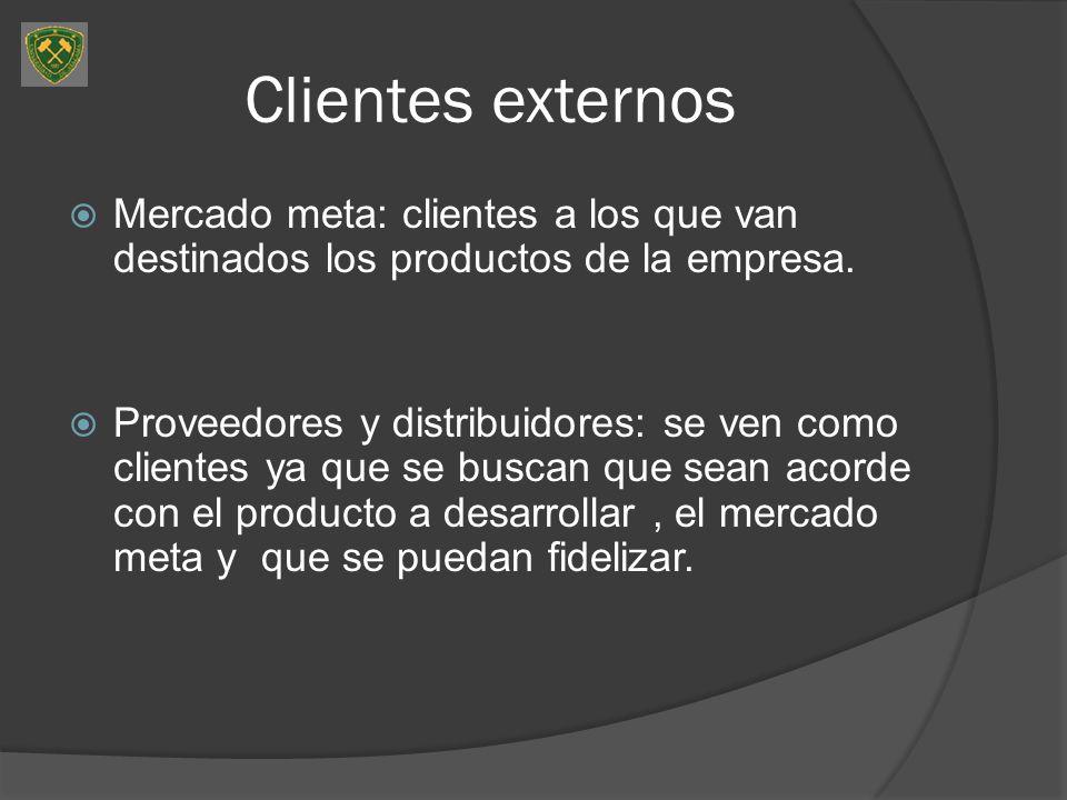 Clientes externos Mercado meta: clientes a los que van destinados los productos de la empresa. Proveedores y distribuidores: se ven como clientes ya q