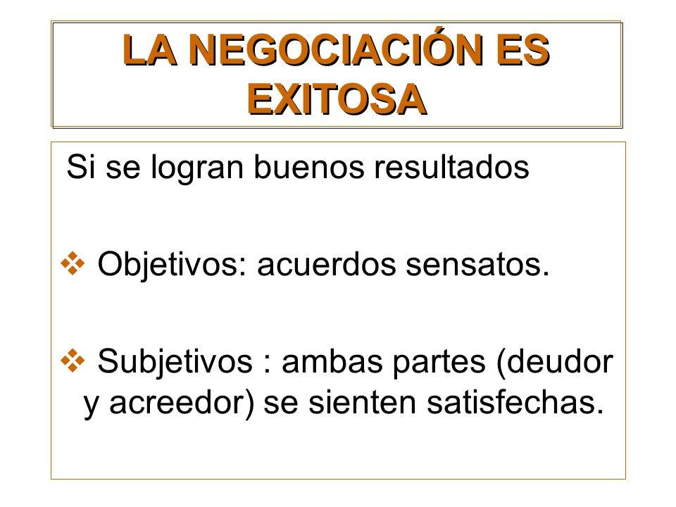 LA NEGOCIACIÓN ES EXITOSA Si se logran buenos resultados Objetivos: acuerdos sensatos. Subjetivos : ambas partes (deudor y acreedor) se sienten satisf