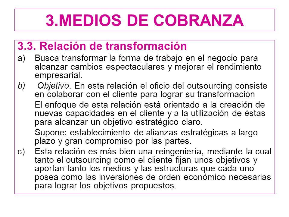 3.MEDIOS DE COBRANZA 3.3. Relación de transformación a)Busca transformar la forma de trabajo en el negocio para alcanzar cambios espectaculares y mejo