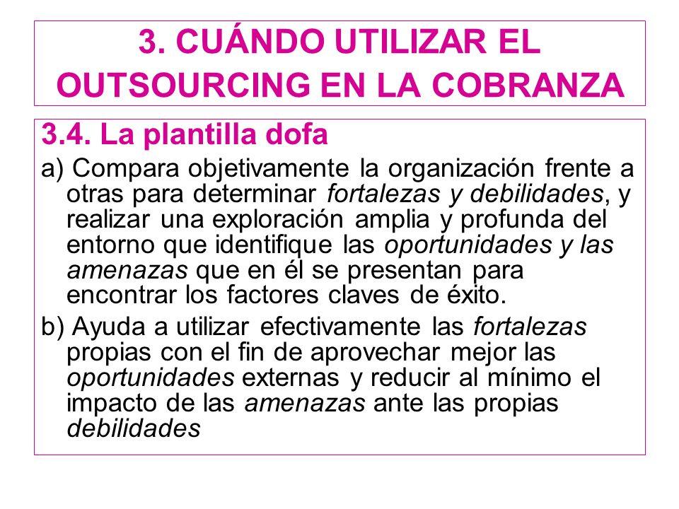 3. CUÁNDO UTILIZAR EL OUTSOURCING EN LA COBRANZA 3.4. La plantilla dofa a) Compara objetivamente la organización frente a otras para determinar fortal
