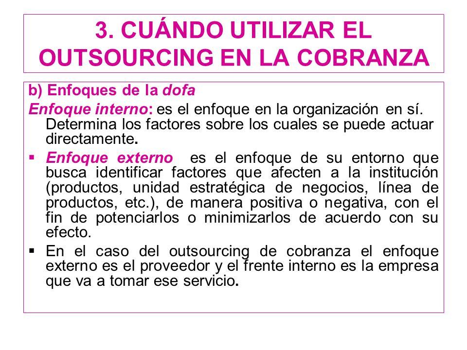 3. CUÁNDO UTILIZAR EL OUTSOURCING EN LA COBRANZA b) Enfoques de la dofa Enfoque interno: es el enfoque en la organización en sí. Determina los factore