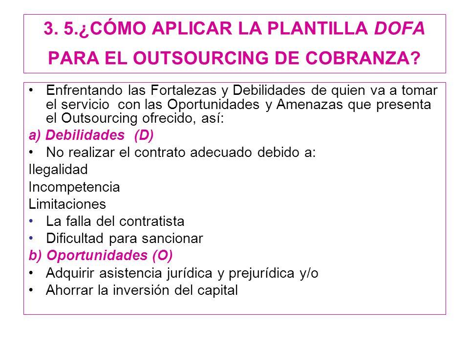 3.5.¿CÓMO APLICAR LA PLANTILLA DOFA PARA EL OUTSOURCING DE COBRANZA.