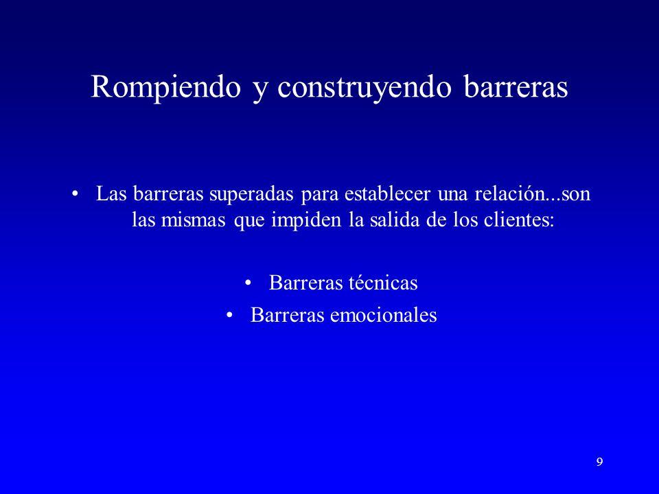 9 Rompiendo y construyendo barreras Las barreras superadas para establecer una relación...son las mismas que impiden la salida de los clientes: Barreras técnicas Barreras emocionales