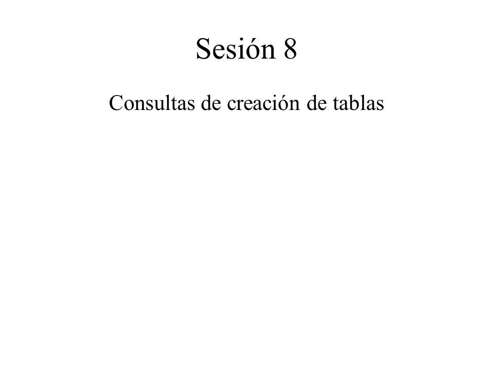 Sesión 8 Consultas de creación de tablas