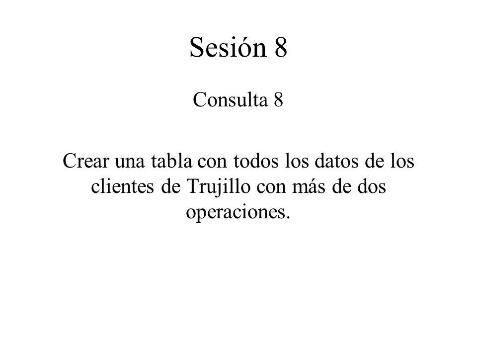 Sesión 8 Consulta 8 Crear una tabla con todos los datos de los clientes de Trujillo con más de dos operaciones.
