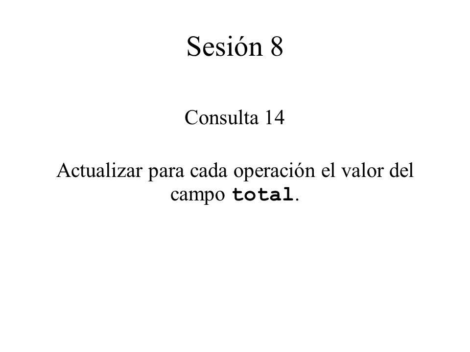 Consulta 14 Actualizar para cada operación el valor del campo total. Sesión 8