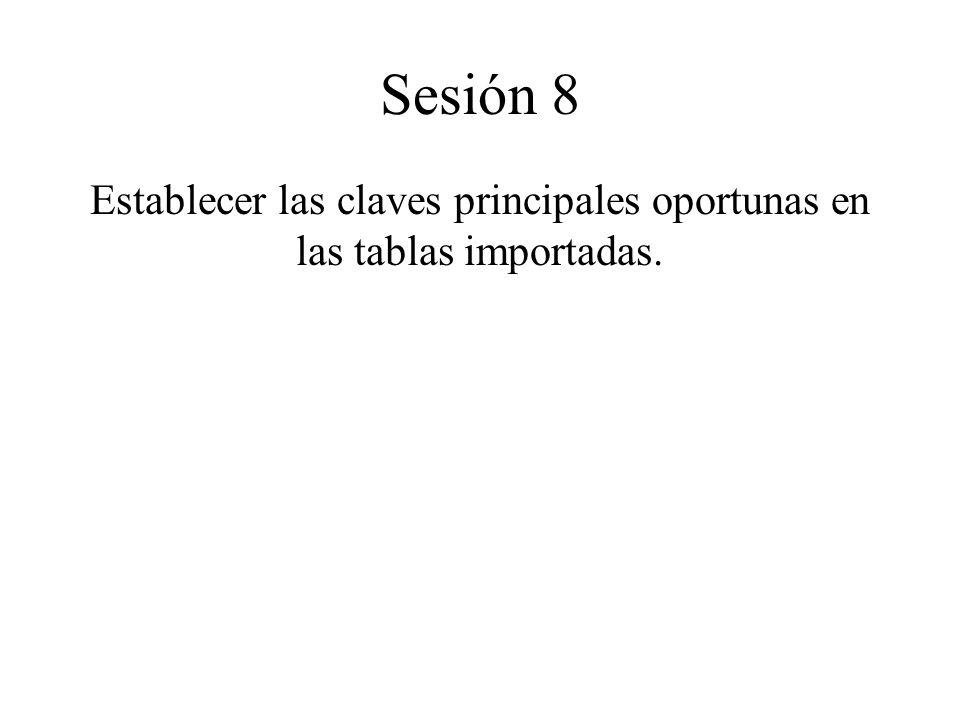 Sesión 8 Establecer las claves principales oportunas en las tablas importadas.