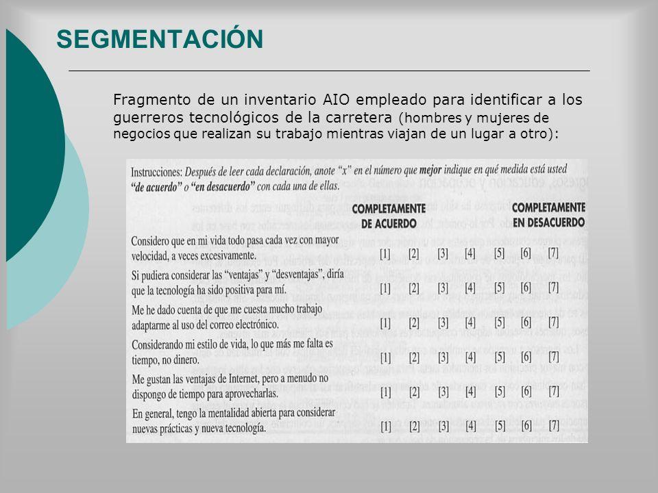 SEGMENTACIÓN Fragmento de un inventario AIO empleado para identificar a los guerreros tecnológicos de la carretera (hombres y mujeres de negocios que