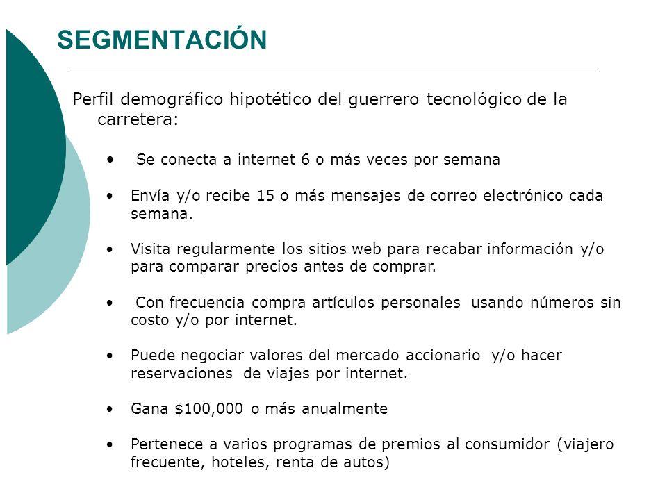 SEGMENTACIÓN Perfil demográfico hipotético del guerrero tecnológico de la carretera: Se conecta a internet 6 o más veces por semana Envía y/o recibe 1