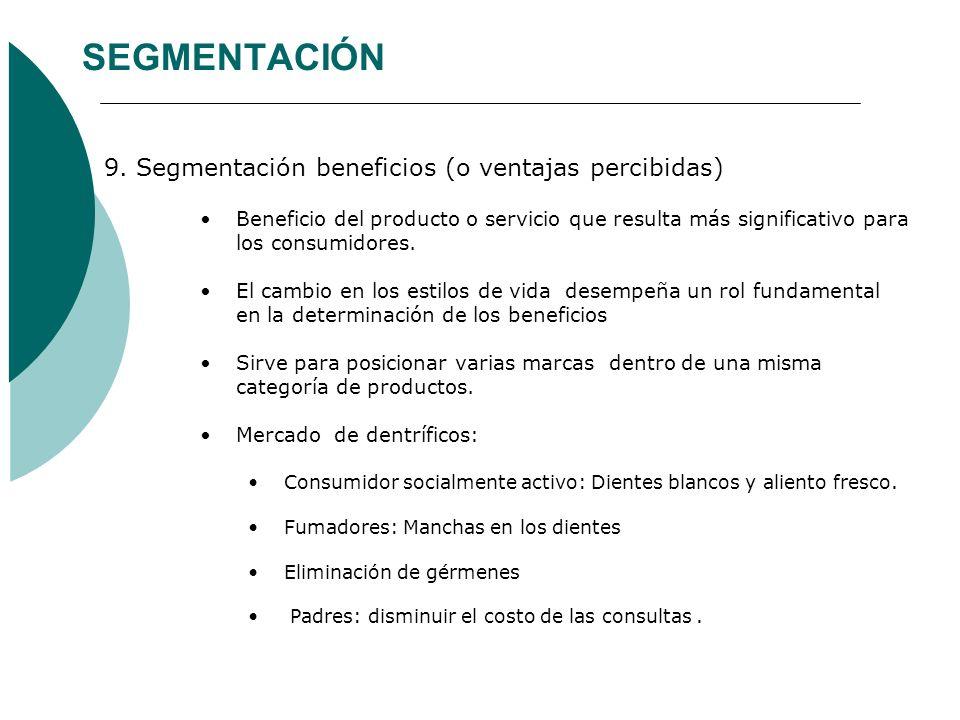 SEGMENTACIÓN 9. Segmentación beneficios (o ventajas percibidas) Beneficio del producto o servicio que resulta más significativo para los consumidores.