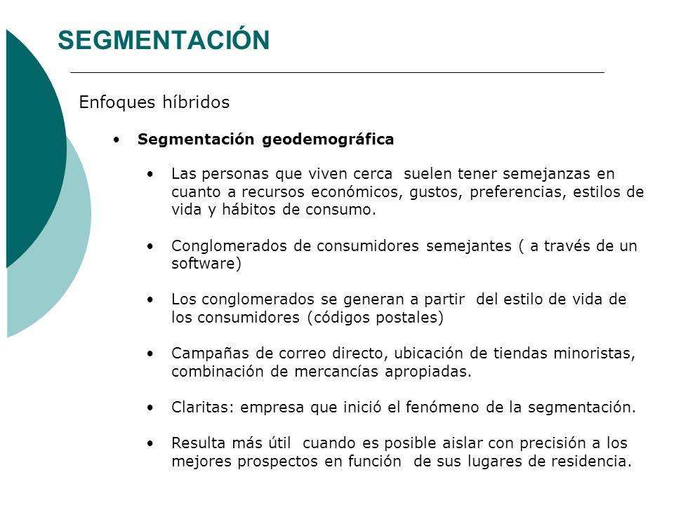 SEGMENTACIÓN Enfoques híbridos Segmentación geodemográfica Las personas que viven cerca suelen tener semejanzas en cuanto a recursos económicos, gusto