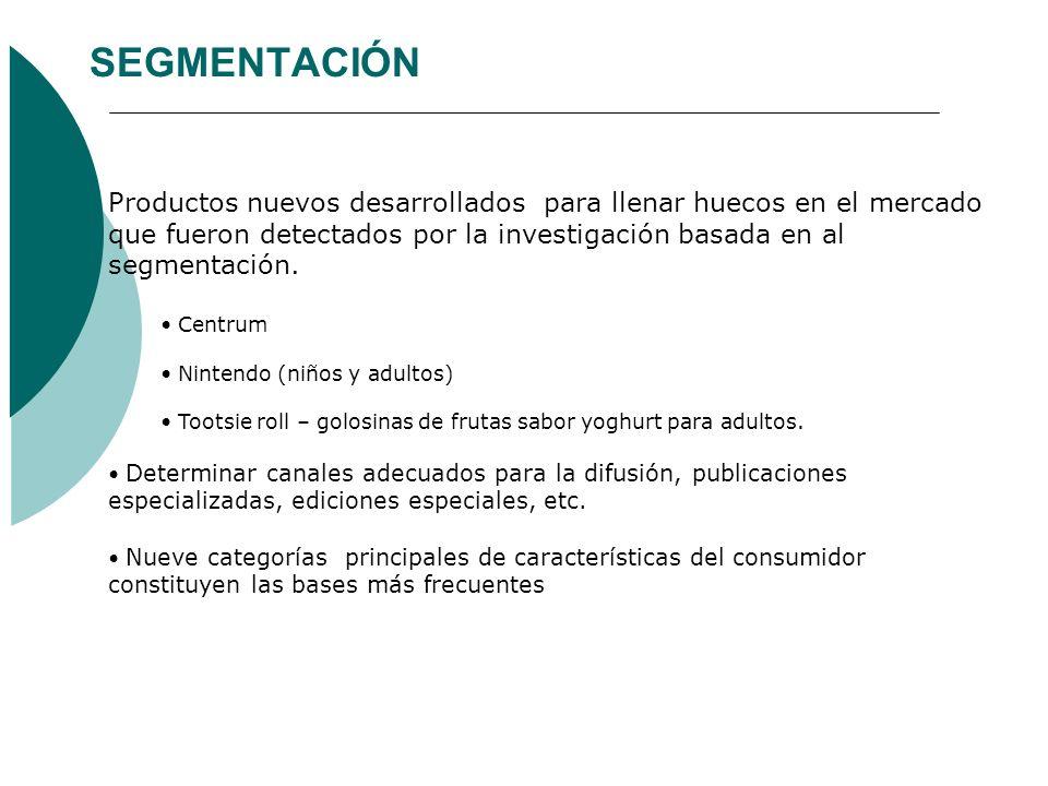 SEGMENTACIÓN Productos nuevos desarrollados para llenar huecos en el mercado que fueron detectados por la investigación basada en al segmentación. Cen