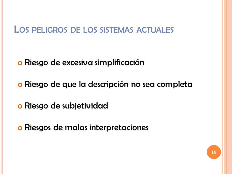 18 L OS PELIGROS DE LOS SISTEMAS ACTUALES o Riesgo de excesiva simplificación o Riesgo de que la descripción no sea completa o Riesgo de subjetividad