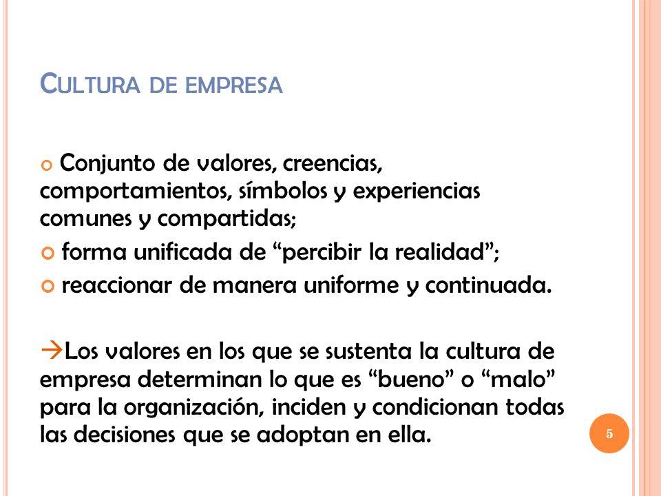C ULTURA DE EMPRESA Conjunto de valores, creencias, comportamientos, símbolos y experiencias comunes y compartidas; forma unificada de percibir la rea