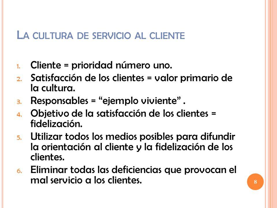 L A CULTURA DE SERVICIO AL CLIENTE 1. Cliente = prioridad número uno. 2. Satisfacción de los clientes = valor primario de la cultura. 3. Responsables