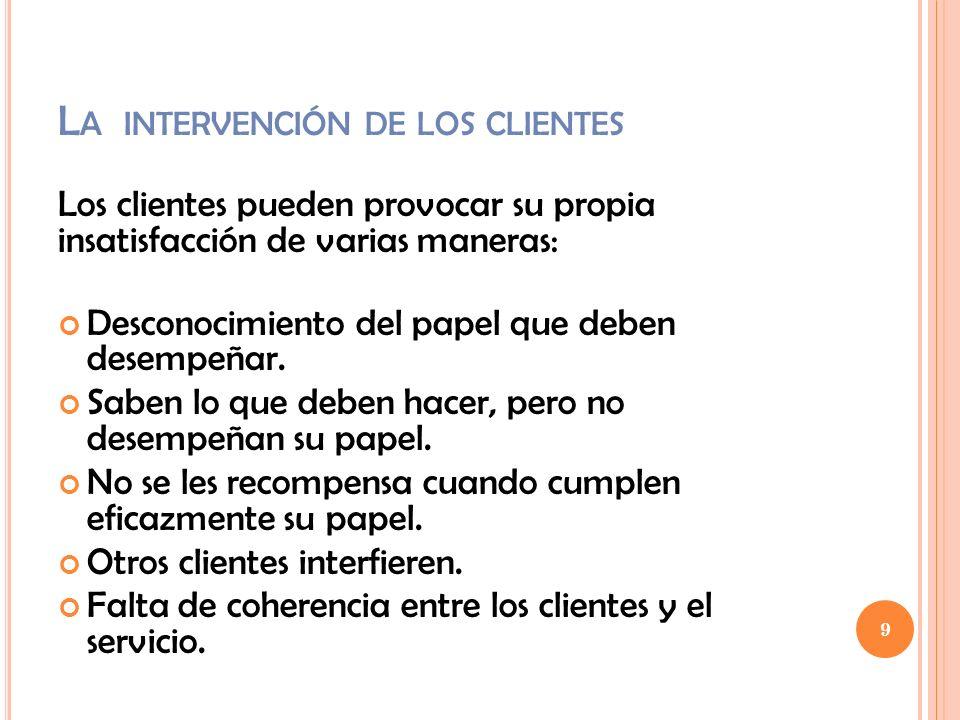 L A INTERVENCIÓN DE LOS CLIENTES Los clientes pueden provocar su propia insatisfacción de varias maneras: Desconocimiento del papel que deben desempeñ